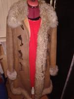 Barna irha bunda, női eredeti  magyar bőr kabát 40-es