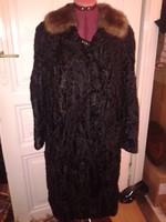 Fekete női bunda perzsabunda nerc ? gallérral