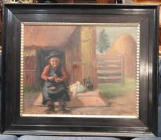 Peske Géza  (1859 - 1934) festménye - olaj - vászon