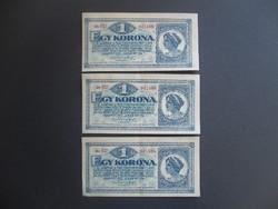 3 darab 1 korona 1920 LOT !!!