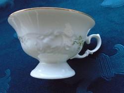 Antik dombor virágmintás-talpas-kézzel festett teás csésze