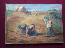 Újváry Ferenc: Betakarítás ritka olaj festmény