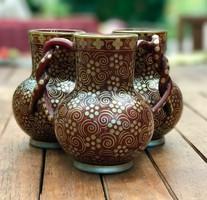 Ritka Zsolnay Millenniumi dekoros hármas váza
