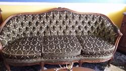 Antik Barokk Szalon Garnitúra, Kanapé 3 db-os