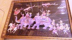 Ritka Egyedi Kézzel hímzett selyem kép