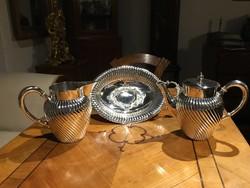 Különleges Ezüst Szett - Teás kanna, Boros Kancsó és Füles Kínálótál