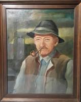 Árzuhanás - Nagyapó - káprázatos szignózott olajportré, üveglappal védve - alkalmi áron