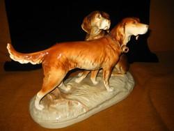 Kutyapár, szignós ,nagy méretű  40x 30cm   ,gyönyörű  ,igen nívós műtárgy,hibátlan porcelán