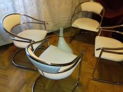 AKCIÓS ÁR !!! Design króm csővázas szék  4 db + design üveglapos asztal 1 db / darabonként is