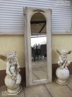 Provence bútor, antikolt fehér álló Faragott tükör 2.
