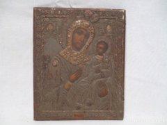 3372 D1 Antik házioltár ikonkép Mária a kis Jézus