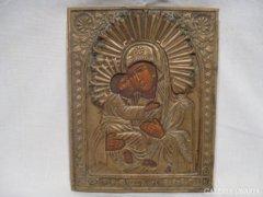 3374 D1 Antik házioltár ikonkép Mária a kis Jézus