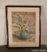 3537 Biai-Főglein István színezett rézkarc virágcs