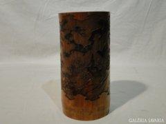 3792 Régi faragott fa japán váza