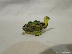 3972 Muranoi fújtüveg teknős vitrindísz