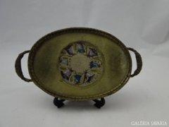 3803 Antik réz goblein díszítéses asztali tálca