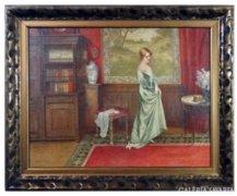 6204 Tolnay Ákos zöld ruhás hölgy cicával