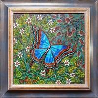 Galambos Tamás - Kék pillangó 30 x 30 cm olaj, vászon keretezve