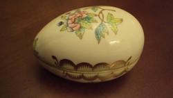 HERENDI Viktória mintás,pillangós,arany cakkos,porcelán tojás-bonbonier.