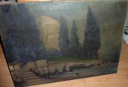 Boross L. jelzéssel: Fák között bújó kastély csónakkal, régi olaj-vászon