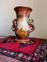 Népi szecessziós váza XX.szd.eleje német-fajansz szecessziós váza jelzett