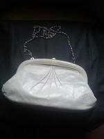 Vajfehér , puha bőr olasz , régi elegáns kézi női táska, hosszú pánttal!