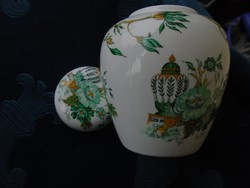 Antik angol CROWN-FINE BONE CHINA Staffordshire KOWLOON mintával-fedeles kis váza