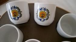 Hollóházi porcelán snapszos készlet