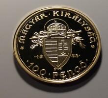 Magyar aranypénzek utánveretben. 100 pengő 1938. Aranyozott ezüst. PP. 5,5 g. 25 mm.