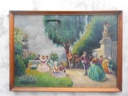 Antik festmény..Piknik.Szignós.