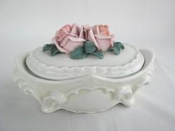 ENS porcelán rózsafogós bonbonier