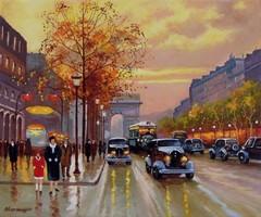 Párizsi utca eredeti vászon olajfestmény