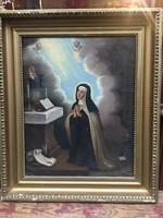 """Ismeretlen festő, """"Madonna""""  XIX. század eleje,55x69 cm, ökörszemes keretben"""