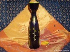 Retro sötétkék üveg váza - kézzel festett