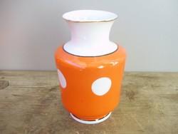Pöttyös retro orosz Duljevo porcelán váza