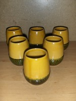 Retro kerámia makk pohár készlet 6 db 7,5 cm magas (j-6)