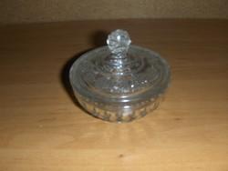 Antik üveg cukortartó átmérő 7,5 cm, magasság 7 cm (12/d)