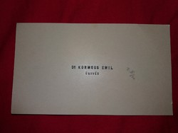 Antik névjegykártya 1917. Dr. Kormos Emil ügyvéd Nagyszeben (ma:Románia)