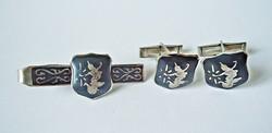 Régi niellós vietnámi sterling ezüst mandzsetta és nyakkendőcsipesz