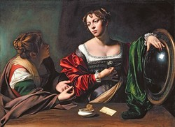 Caravaggio masterpiece: a real oil painting with spectacular colors, based on the original painting