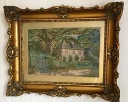 Balatoni ház régi gobelin kép eredeti keretben nagyon szép kézi munka!
