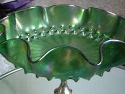 Loetz üvegtál, asztalközép ezüstözött talppal