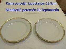 Kahla porcelán lapostányér aranyszínű széllel 2db