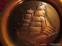 Nagy méretű bronz tál hajó  mintával 34 cm 0423