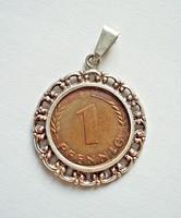 1968-as 1 pfennig ezüst keretben, medál
