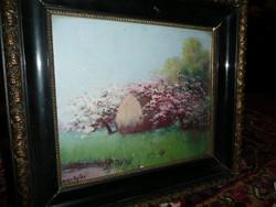 Gyönyörű keretes antik olaj-karton szignált festmény eladó 37*32 cm