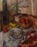 Ilosvai Varga István (1895-1978): Csendélet borospalackkal