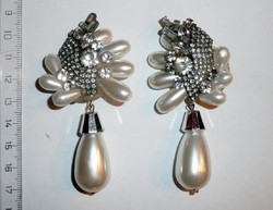 Vintage gyöngy, kristály és strassz klisz pár