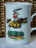 Gray Thelwell Staffordshire 1967 Norman Thelwell, díjugrató póni porcelán bögre csésze, gyűjtői