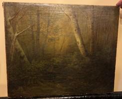 """XIX. századi """"Vadászat hajnalban"""" című olaj, vászon festmény"""